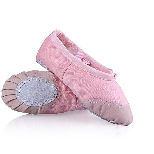 5925cd44e WinCret Girls Ballet Shoes - Canvas Ballet Dancing Shoes for Kids Children  Toddlers - Pink Ballet
