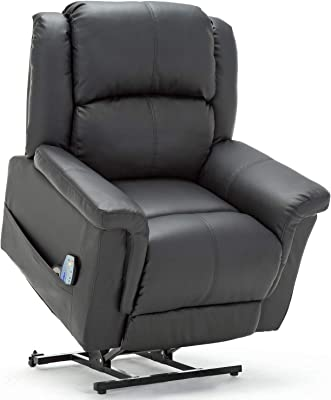 ComHoma Power Lift Recliner Chair Massage Heated Electric Lounge Living Room Sofa Luxurious Bonded Leather Easy Care for Elderly with Remote Black
