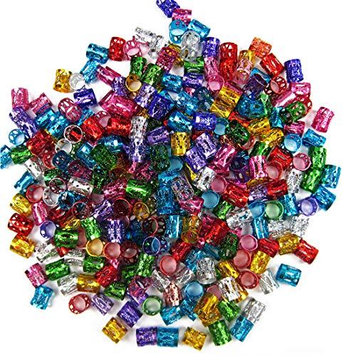 Hub's Gadget 210 Pieces Dreadlocks Metal Hair Cuffs, Hair Braiding Beads Filigree Hair Accessory, 7 Colors