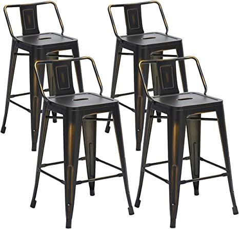 Amazon Com Aklaus Metal Bar Stools Set Of 4 Counter Stools Counter Height Bar Stools With Backs Indoor Outdoor Bar Chairs 24 Inch Distressed Black Gold Kitchen Dining