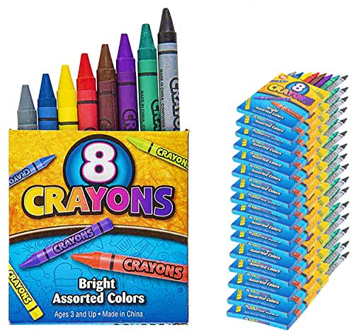 384 Crayons, 48 Packs of 8 Crayons for Kids Bulk -Non-Toxic- 8 Colors in Each Crayon Box, Premium Crayons, Great Party Favor, Arts and Crafts Supplies for Toddlers, Goodie Bag Filler, 4E's Novelty