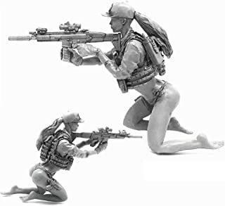 1:35 Scale Military Models Pinup US Army Girl Soldier with Scar-L Resin Figure Plastic Unassembled Model Miniature Set