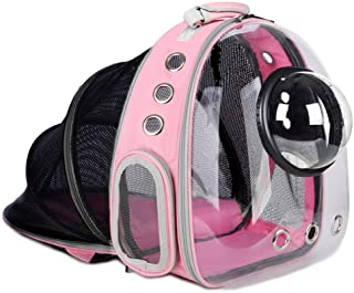AJY Pet Clear Cat Backpack Carrier Foldable Breathable Pet Rucksack Carrier for Puppy Dog Cat Lightweight Cat Backpack Des...