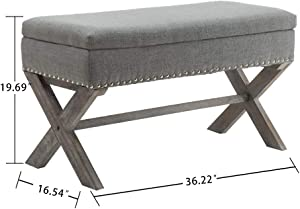 Fabric Storage Bedroom Bench Seat for End of Bed, Upholstered 36 inch Entryway Bench with X-Shaped Wood Legs for Living Room or Hallway, Gray