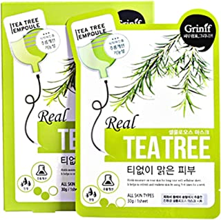 [Grinif]Real Tea Tree Mask Pack 25g Pack of 10 - Silky Cellulose Mask Sheet with Tea Tree Extract Calming, Anti Blemish, Anti Wrinkle Korean Mask Pack