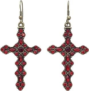 Colorful Cross Rhinestone Burnished Gold Tone Dangle Earrings - Assorted Colors