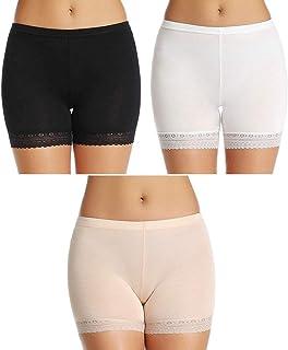 PLUMBURY® Women's/Girl's Cotton Lycra Shorts with Lace Trim Cycling Shorts/Safety Shorts/Under Skirt Shorts/Night Shorts,F...