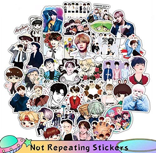Cute Stickers Aesthetic 50 pcs Carton Toy Korean Stars Kpop PVC Stickers Skateboard Luggage Notebook Laptop Decals Idols Cute Children s Toy