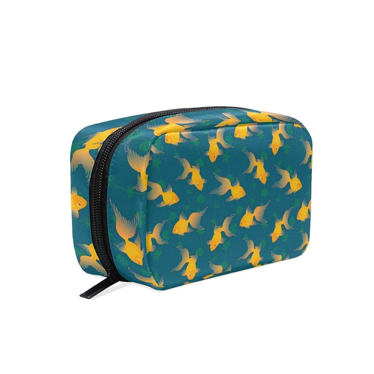 誇りに思うニックネームフロー金魚 柄 化粧ポーチ メイクポーチ 機能的 大容量 化粧品収納 小物入れ 普段使い 出張 旅行 メイク ブラシ バッグ 化粧バッグ
