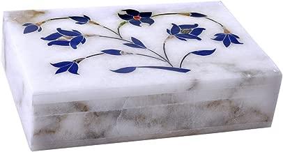 Hashcar Marble Floral Engraved Jewelry Box - Handmade Jewelry Box for jewelery Storage Oganizer