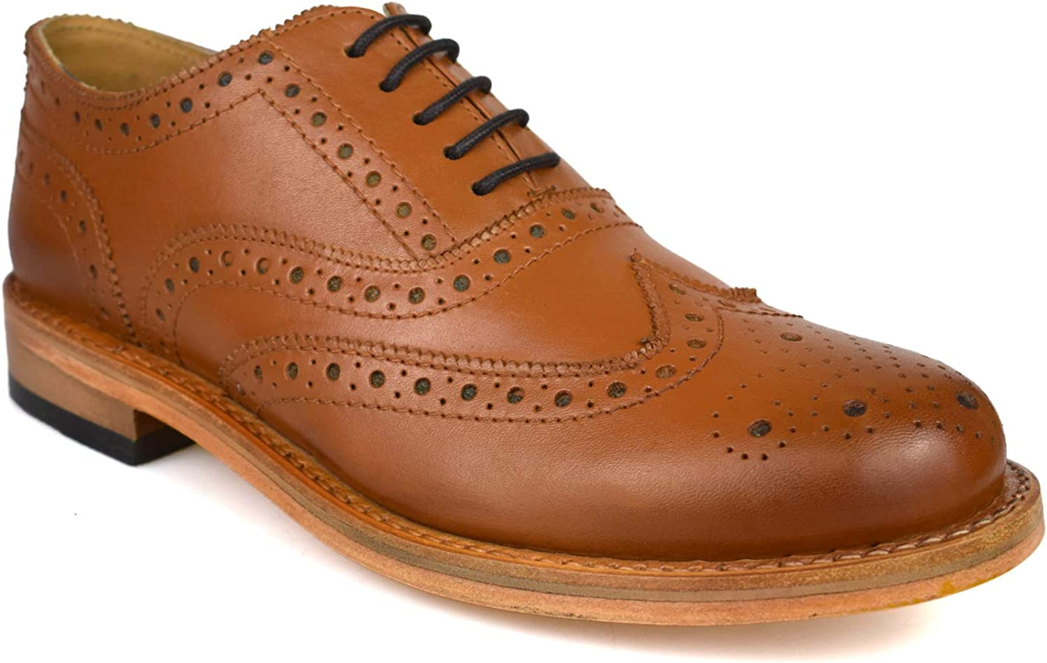 Mens Premium Leather Tan Brown Goodyear Welted Formal Brogues 0310T