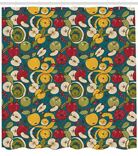 N\A Obst Duschvorhang, botanische Illustration von geschnittenen und ganzen Äpfeln Gewürzen Beeren, Stoff Stoff Badezimmer Dekor Set mit Haken, Petrol Blue und Multicolor