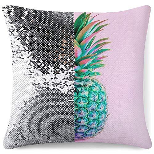 KAZOGU Funda de cojín con lentejuelas decorativas, bonita piña, rosa cambiante, para decoración de sofá, regalo