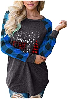 Women Merry Christmas T-shirt, Ladies Xmas Tree Printed Plaid Long Sleeve Pullover Blouse Tops