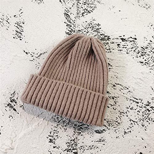 Hut einfarbig Wilde strickmütze Dicke leichte Bord Klassische wollmütze warme männer und Frauen Set Kopf mütze Haut Pulver M (56-58 cm)