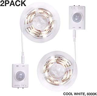 Motion Sensor Light, Dorolla 3.3ft Motion Activated LED Strip Light, Stick-on Anywhere Wireless Battery Operated LED Night Light for Stairs, Closets, Under Bed and Under Shelves (Cool White, 2Pack)
