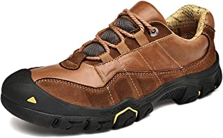 UPIShi Mens Walking Hiking Leather Boots Lightweight Breathable Outdoor Sneakers Trekking Casual Shoe