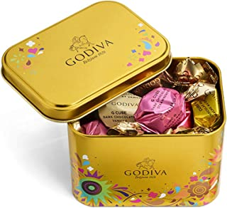 Godiva Chocolatier Assorted Chocolate Festival Assorted G Cube Tin, Chocolate Truffles, Chocolate Gifts, 15 pc, 4.30 Ounce