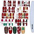 8 Sheets Christmas Nail Stickers Strip Nail Polish Stickers Full Nail Wrap Adhesive Nail Decals With Deer Snowman Xmas Tree Design and Nail File