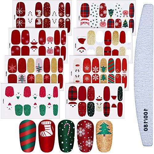 8 Sheets Christmas Nail Stickers Strip Nail Polish Stickers Full Nail Wrap Adhesive Nail Decals With Deer Snowman Xmas Tree Design and Nail File (Classic Style)
