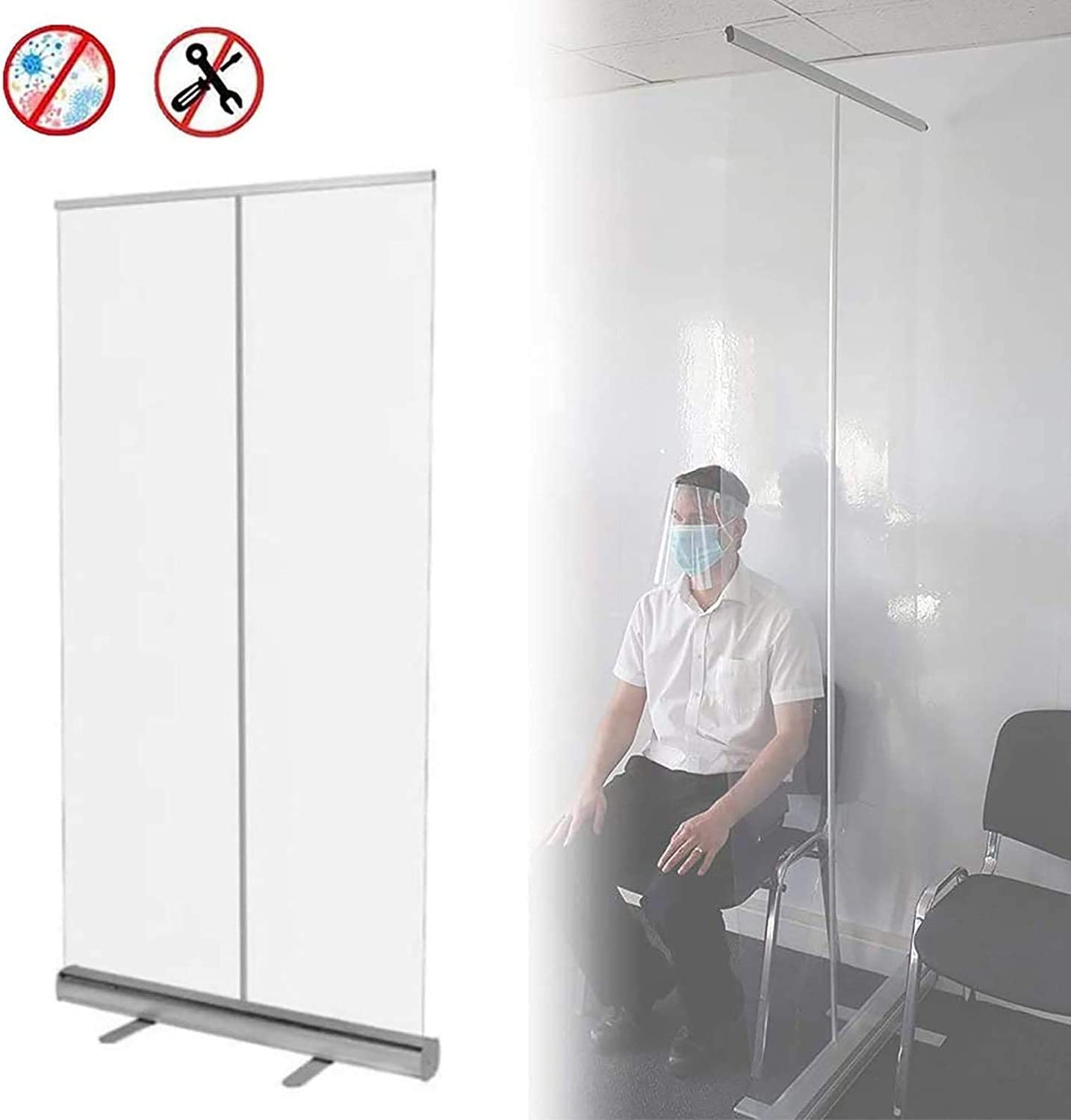 Floor Standing Transparent Floor-Standing Sneeze Guard Protection Screen Social Distancing Screen Spit Protection DUWEN Floor Standing Sneeze GuardFace Shields Dividers Roller Pull Up Clear Banner