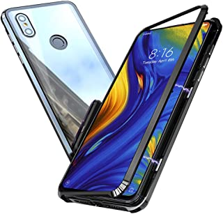 Cresee Xiaomi MI MIX3 ケース 強磁性アルミフレーム(ガラスなし)+クリア強化ガラス背面 薄型 レンズ保護 耐衝撃 傷防止 指紋防止 全面保護カバー 透明 (Xiaomi MI MIX3,ブラック)