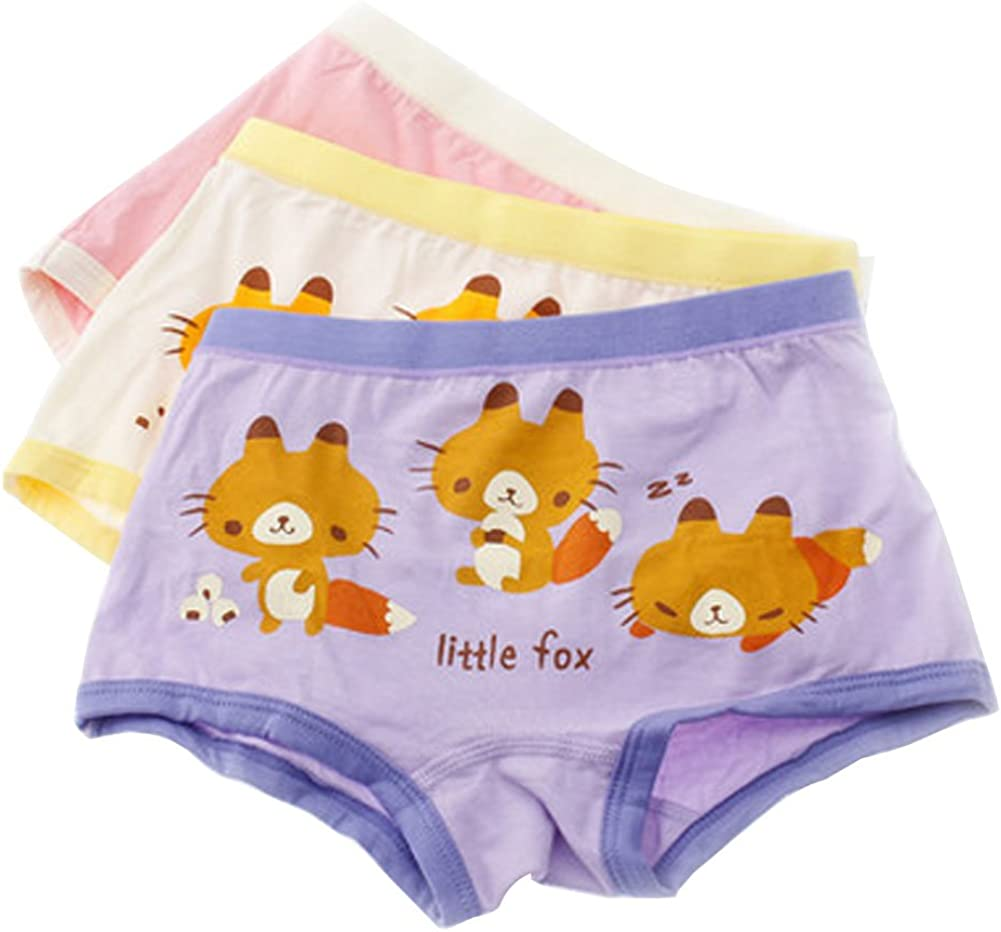 3 Pack Lovely Fox Cotton Briefs Panties for Girls/Height 120CM