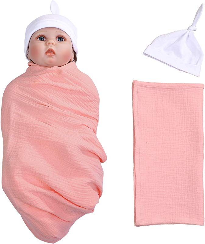 Newborn Receiving Blanket Hat Set Solid Color Baby Swaddle Sack Coming Home Outfit Sleeping Bags