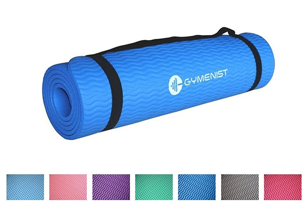 GYMENIST Thick Exercise Yoga Floor Mat Nbr 24 X 71 Inches Great for Camping Cardio Workouts Pilates Gymnastics with Carrying Strap Included