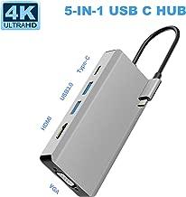 USB C Hub, 5 in 1 USB C Adapter with 4K@30HZ HDMI, 1080P @60HZ VGA, USB C PD Port, USB 3.0 Ports2 Compatible with MacBook Pro 2019/2018/2017, Samsung Galaxy S9/S8, Chromebook etc