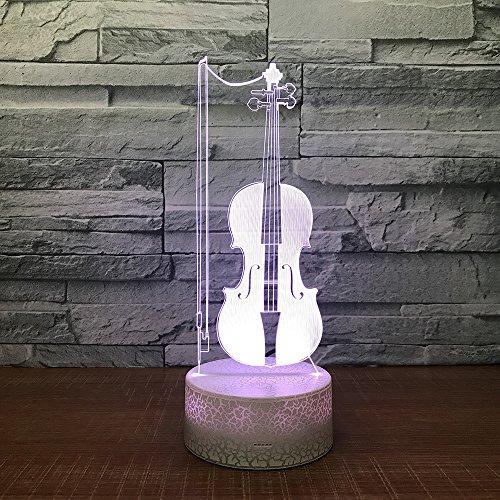 3D Viool Nachtlampje voor Kinderen LED Illusie Lamp Afstandsbediening Tafellamp 7 Kleur Veranderende Lichten met USB Opladen Gift voor jongen Meisje Verjaardag, Slaapkamer Nachtdecoratie