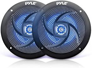 Low-Profile Waterproof Marine Speakers - 100W 4 Inch 2 Way 1 Pair Slim Style Waterproof Weather Resistant Outdoor Audio Stereo Sound System w/Blue Illuminating LED Lights - Pyle (Black)
