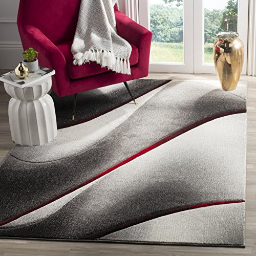 Grey and Red Modern Abstract Area Rug