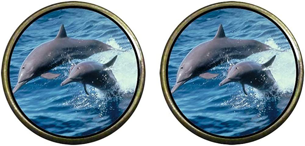 GiftJewelryShop Bronze Retro Style Two Cute Jump Dolphin Photo Clip On Earrings 14mm Diameter