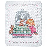 Tobin Bedtime Prayer Girl Baby Quilt - Stamped Cross Stitch Kit T21709-36 by 43 inches - with Gift Card