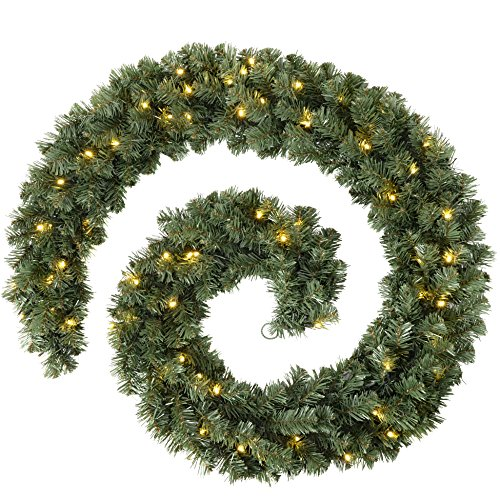 WeRChristmas Extra Thick Pre-Lit Multi-Function Garland with 80 Warm LED Lights, Natural, 9 feet