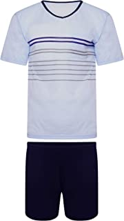 i-Smalls Men's Soft Cotton Summer Short Pyjama Set with Black Eye Mask (M - 5XL)