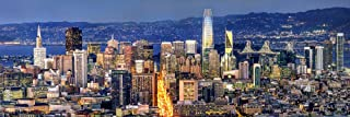 San Francisco Skyline 2018 PHOTO PRINT UNFRAMED Dusk Color City Downtown SF 11.75 inches x 36 inches Photographic Panorama Poster Picture Standard Size