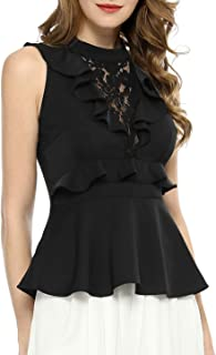 Allegra K Women's Ruffle Lace Panel Round Neck Sleeveless Cut-Out Back Peplum Top