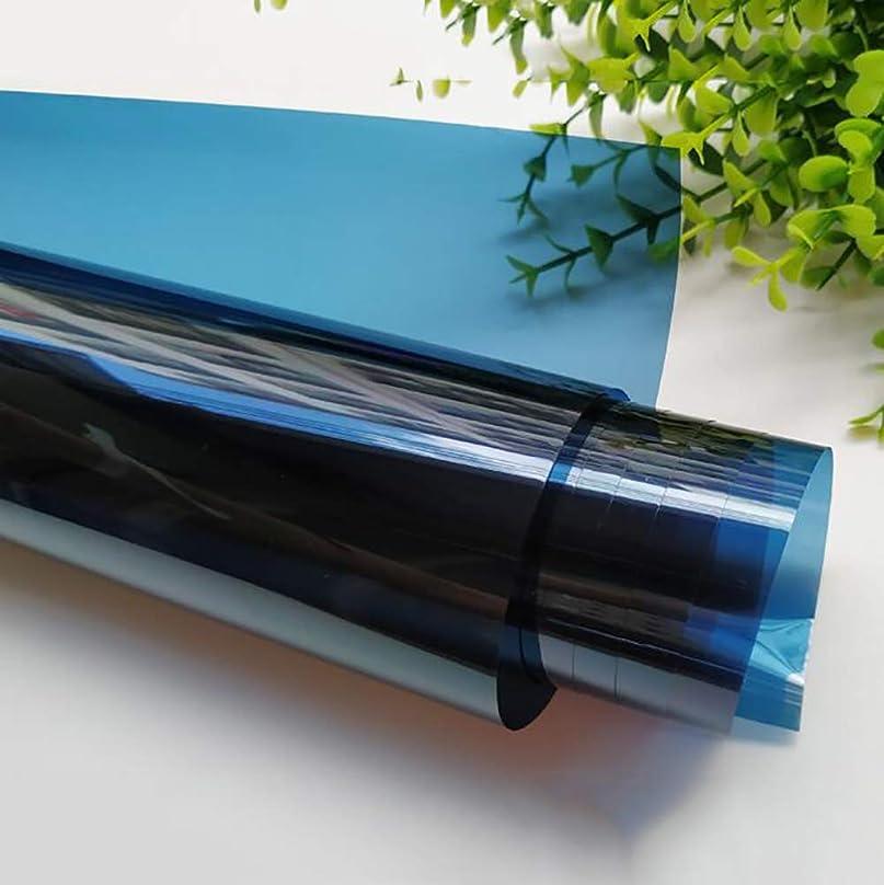 スカルク世界的に鼓舞するウィンドウステッカープライバシーガラスプロテクターステッカー、ウィンドウUV用プライバシーミラーブルー接着フィルム、プライバシー保護,75x200cm