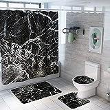 ETOPARS Marmor Textur Bad Duschvorhang Teppich Set 4 Stück Weiche und rutschfeste Badematte, U-förmiger Kontur Teppich, Toilettendeckelabdeckung 72 x 72 Zoll, Marmor Textur 08