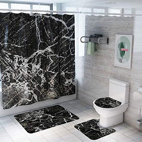 ETOPARS Marmor Textur Bad Duschvorhang Teppich Set 4 Stück Weiche & rutschfeste Badematte, U-förmiger Kontur Teppich, Toilettendeckelabdeckung 72 x 72 Zoll, Marmor Textur 08