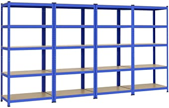 Yaheetech 4 x rek voor zware lasten, 180 x 90 x 45 cm, opslagrek, 1325 kg, kelderrek, blauw, steekrek, 5 MDF-platen, werkp...