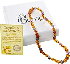 Bump Amber Teething Necklace for Babies: Raw Baltic Teether Necklaces for Baby, Infant, Toddler - Natural Pain Relief Jewelry with Authentic Raw Unpolished Stone Beads (Amber & Amethyst)