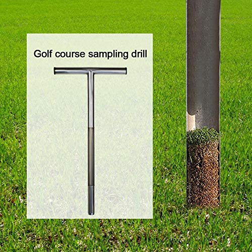 Bodenproben-Sonde 25x52cm Edelstahl Bodenprobenehmer Röhrenförmiger T-Griff Golf Field Sampling Earth Turf Lawn Maintenance Tool Golfzubehör für Golfplätze Rasen Bauernhof