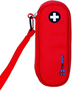 PracMedic Bags EpiPen Case Insulated, Compact - Holds 2 EpiPens or Auvi-Q and Asthma Inhaler - Immediate Access to Allergy Medications During Emergency Situations for Kids and Adults (Red)