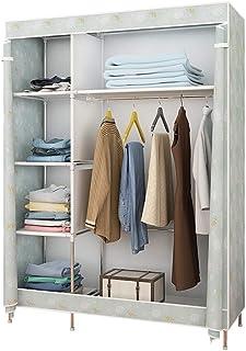 Armoire de Rangement Garde-robe portable simple, sac de rangement for armoire, facile à ranger, équipé d'étagères en métal...