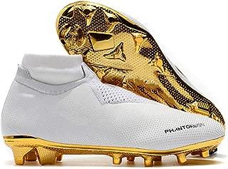 Zapatos De Fútbol De Tacos Altos Para Hombres Que Tejen Clavos FG Zapatos De Fútbol Para Entrenamiento De Césped Al Aire Libre En Interiores Zapatillas De Deporte De Fútbol Con Césped Antideslizante,White,44
