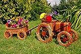 DEKO VERTRIEB BAYERN Premium Traktor+Anhänger 120cm Korbgeflecht Rattan Körbe Pflanzkorb Pflanzkasten, Gartendeko, Pflanzkasten, Blumenkasten, Pflanzhilfe