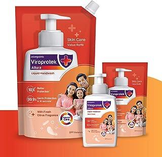 Asian Paints Viroprotek Allura Liquid Handwash Skin Care Pack of 1 Bottle 200 ml + 2 Pouch 750 ml + 175 ml, Neutral, Citru...